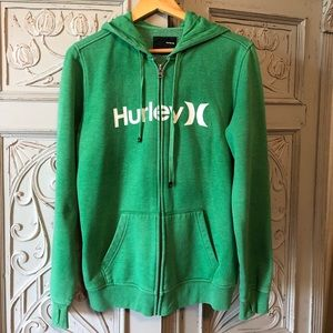 HURLEY GREEN ZIP-UP FLEECE HOODIE  WHITE LOGO.